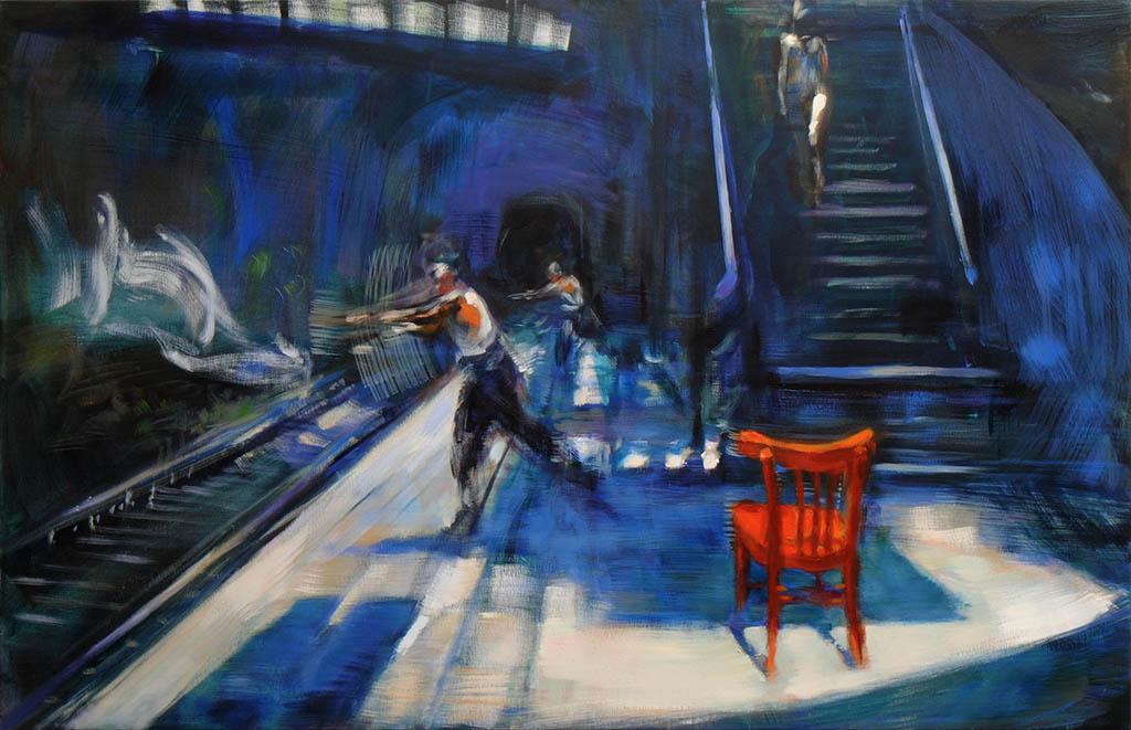 Akt eine Treppe herabsteigend 2 2018, Acryl/Lwd, 100 x155 cm