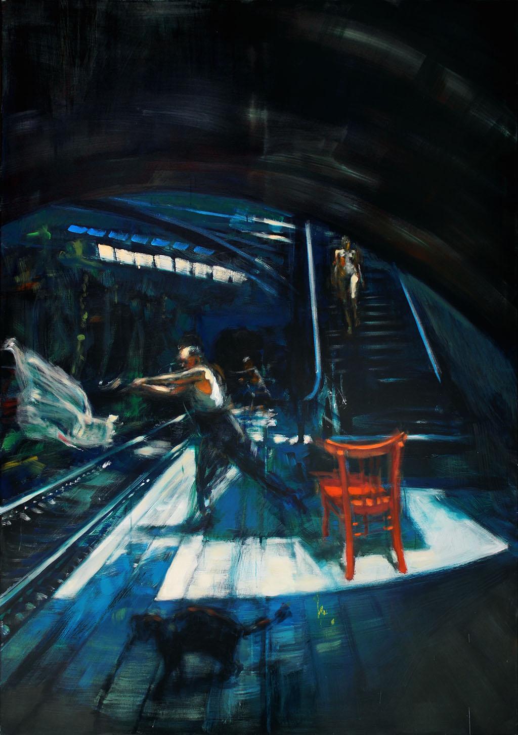 Akt eine Treppe herabsteigend 2017, Öl/Lwd, 220 x155 cm