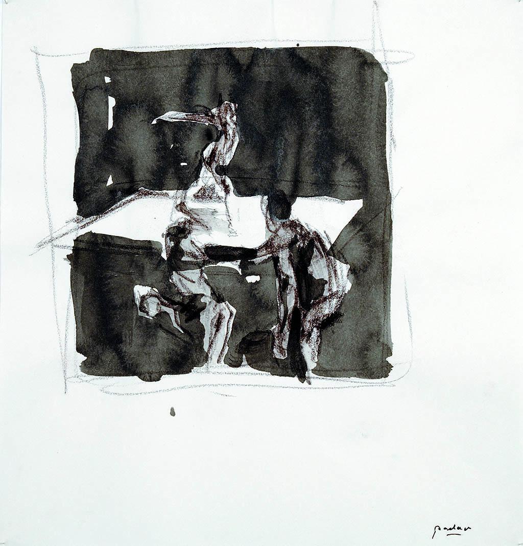 O.T._10   2009, Acryl/Kreide/Papier, 24x23cm